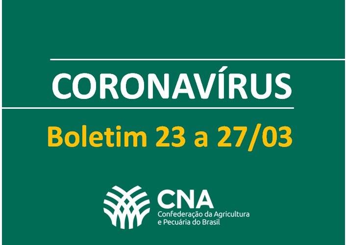 CNA divulga relatório com impacto do coronavírus em cada setor do agro brasileiro